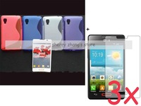 (black) soft silicone s line gel tpu case cover+3X screen protector lcd For LG Optimus L4 II E440