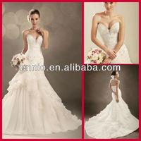 Softly Feminine Sweetheart Ball Gown Soft Organza Beaded Bridal Wedding Dress Ivory 2013