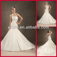 2014 Simple Style Sweetheart Ivory Satin Ruffles Beadeds Fish style Long Train Corset Wedding Dress (WDE2014)