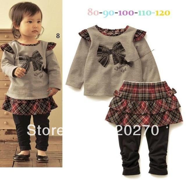 Free Shipping Autumn Baby Girls Long-sleeved Bowknot T-shirts Plaid Lattice Skirt Leggings Kids Clothing Suits Toddlers Garments(China (Mainland))