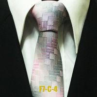 High Quality Popular Men`s Ties For Men Pink Teal Geometric Business Formal Neckties For Shirt Gravatas 7CM F7-C-4
