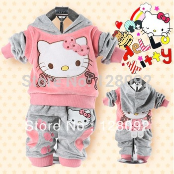 Wholesale 3sets/lot baby 2piece set tracksuits Girl's Hello Kitty clothing sets velvet Sport suits hoodies+pants freeshipping