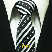 Men`s Spot Neckties For Men Novelty Groom Black With White Polka Dots Business Classic Striped Ties 7CM F7-F-1 Free Shipping