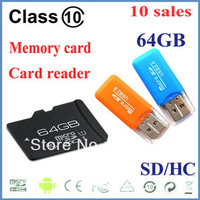 10pcs/lot 64GB Memory card Good quality and best quality sd micro card memory card with free adapter and free TF card reader