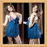 Free Shipping Women Quality Sexy Lingerie Dress Exotic Spaghetti Strap Deep V Nightdress Sleepwear 3 Colors Optional