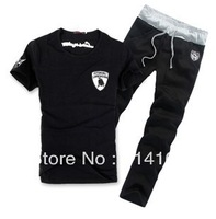 Wholesale 2013 New Man Automobili Lamborghini T-shirt + Short Pants Sport suit tracksuit men's sportswear Black Grey SIZE M-XXXL