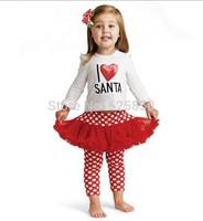 Free shipping 5 sets/lot i love santa girl christmas t-shirt and red bulgy white dots pantskirt 2 pieces autumn tutu suit