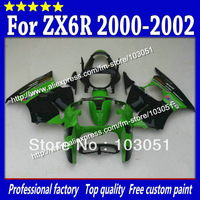 Custom for 2000 2001 2002 kawasaki ZX6R fairing set Ninja ZX 6R 00 01 02 ZX-6R fairings glossy dark green with black Sc15