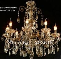Gold Luster K9 Crystal Glass Chandelier Living Room Lamp D700mm H700mm 6 Lights