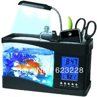 2013 Hot Gold fish tank versatile creative gifts USB mini aquarium fish tank eco aquarium  birthday gift