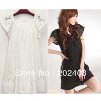 Korean Style Slim Women Lady Summer Lace Dress Show Thin One-piece Dress Black/White