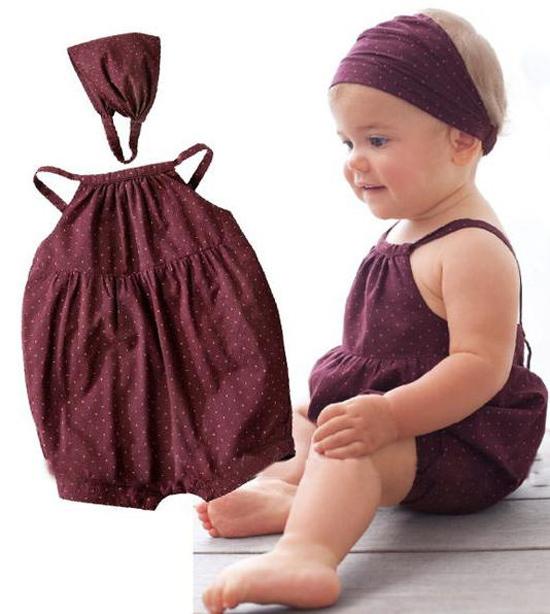 [해외]KNB summer baby rompers polka dot girls cotton rompe..