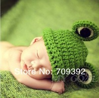 Baby Infant Newborn Handmade Crochet Knit Cap Frog Hat Costume Photograph Prop[240818 ]