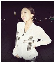 Fashion Me CC-003 2013 Women Punk Sexy Chiffon Yarn Halter Cross Rivet Perspective Shirts Blouses black/white free shipping