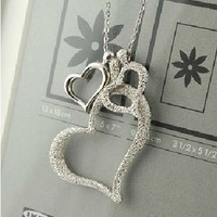 Min. Mixed order is $15 Free Shipping Fashion Alloy Three Love Heart Pendant Necklace Wholesales hot sales