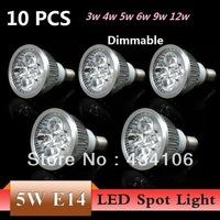 10PCS E14 3w 4w 5w 6w 9w 12w AC85~265V Dimmable White/Warm white LED Spot Light LED Downlight Bulb