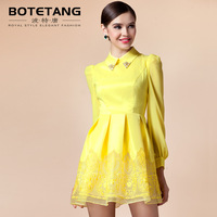 Porter 2013 autumn peter pan slim fashion patchwork sweet organza yellow long-sleeve dress
