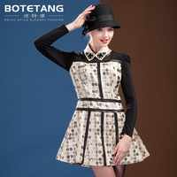 Porter 2013 autumn three-dimensional polka dot dress o-neck long-sleeve pullover expansion bottom one-piece dress