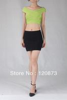 2013 high quality sexy  lime green off the shoulder short bandage  tops hl red ,white ,black ,hot pink ,purple ,beige,blue