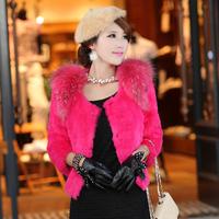 Fashion Women Lady Winter Warm100% Natural Genuine Rabbit Fur Coat Female Short Design O-neck Fur Overcoat