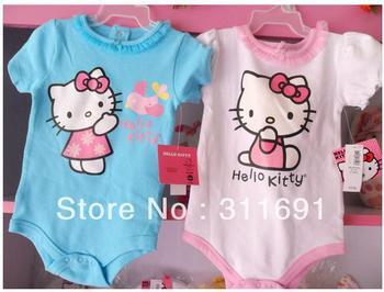 2013 new baby girl clothing girl's hello kitty design romper baby girl's short sleeves jumpersuit girls' summer wear