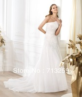 2014 One-shoulder Fitted A-line Organza And Tulle Wedding Dresses Custom Made Beaded Sequins Appliques Spring Garden Bridal Hot