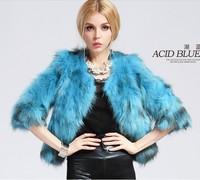 Fashion Women 100% Natural Genuine Raccoon Fur Coat  Female Short Design O-neck Fur Overcoat