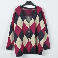 New arrival 2013 women's plus size sweater rhombus batwing sleeve cardigan