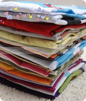wholesale Striped kids clothes boys  long sleeve tops children baby infant fashion t shirt cotton Boys girls clothing 5pcs/ lot