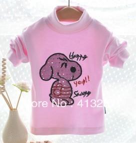 New fashion 2013 baby girl's t-shirts kids tops autumn/winter turtleneck long sleeve chilren novelty shirt free shipping(China (Mainland))