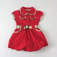 2013 Summer Girls Red Dress Baby Brand Dresses Children Grid Dress With Belt Girl Flower Design Dresses Retail Free Shipping!!