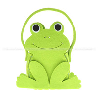 Shanghaimagicbox Women Kids Cute Small Frog Cartoon Handbag Children Green Bag Felt WBG1019