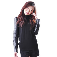 The new, women high collar sheep skin, plus cotton, ladies leather jackets, knitwear, bottoming shirt