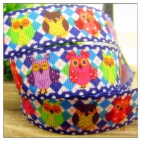 Free shipping 22mm cartoon ribbon rib knitting belt owl series handmade hair accessory webbing material
