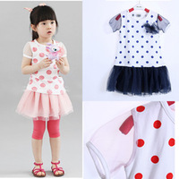 2013 summer children's clothing female child gauze dot one-piece dress short-sleeve one-piece dress princess dress