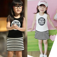 Children's clothing 2013 summer female circle letter child stripe sleeveless vest one-piece dress
