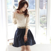 892013 summer long-sleeve shirt lace handmade embroidered lace top