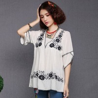 Summer women's 71 100% cotton solid color embroidered V-neck shirt vintage embroidered