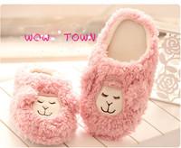 Winter couple cute pink lamb soft bottom shoes, cotton slippers home floor Shoes Men Women Home shoes