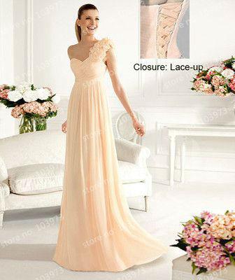 2014 dame chic stil Champagner chiffon kleid brautjungfer kleid auf lager Größe 6 8 10 12 14 16