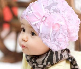 2013 children Baby hat lace flower princess hat pocket pile cap spring autumn hat cap