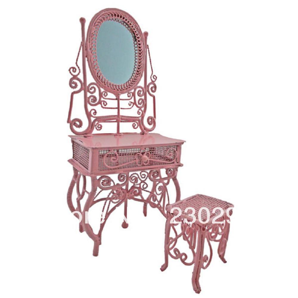 Rosa fio Vanity + espelho + Chair móveis Dollhouse jóias Display Stool 1:12 boneca(China (Mainland))