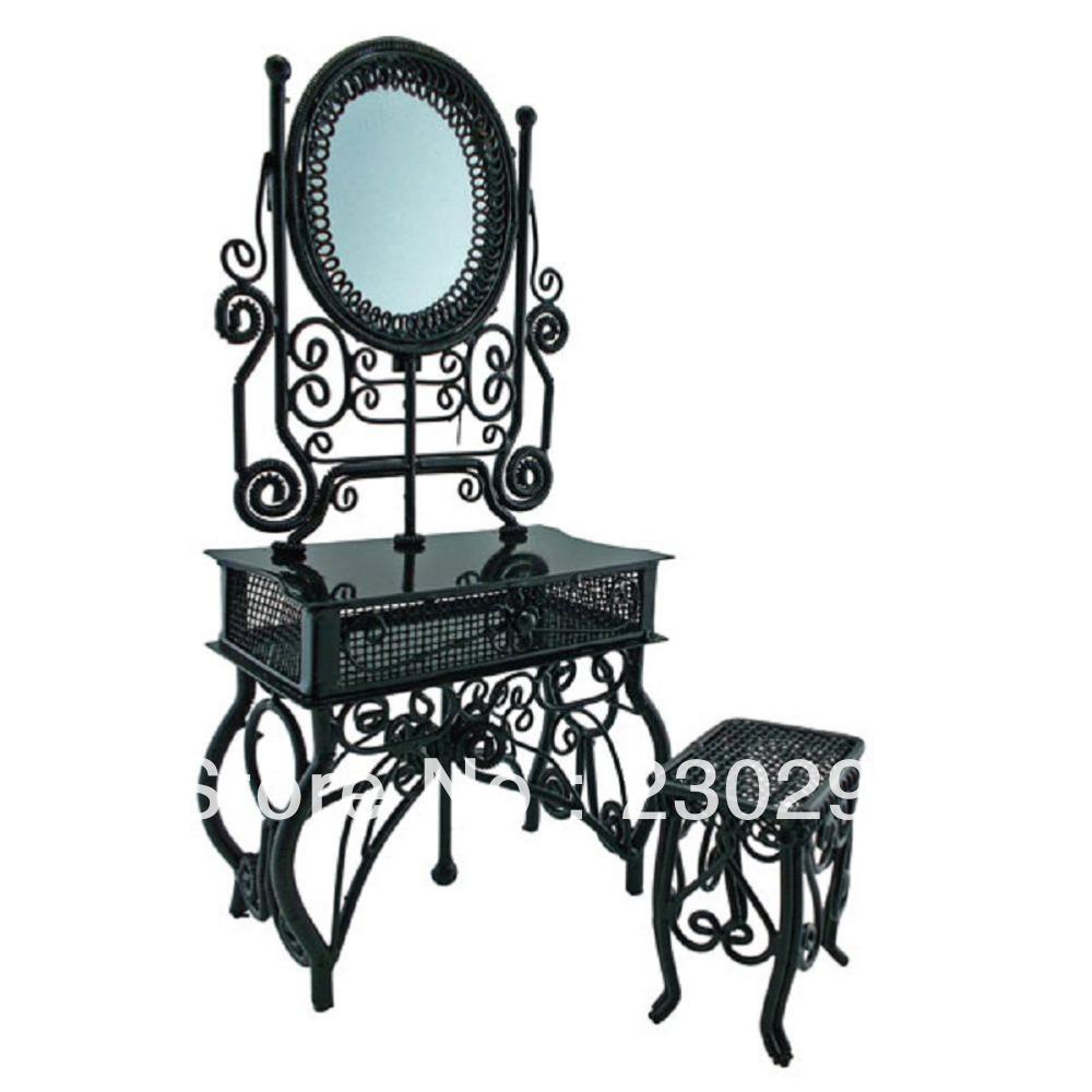 Fio preto Vanity + espelho + Chair móveis Dollhouse jóias Display Stool 1:12 boneca(China (Mainland))