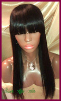Free shipping Cheap Light Yaki Virgin brazilian full lace wigs for black women human hair lace wig glueless with bangs