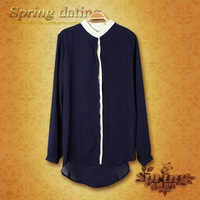 Street 2013 spring asymmetrical s0271 shirt women's long-sleeve fashion solid color straight regular style m3032
