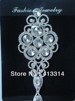 F101261023  Crystal Glass Sash Applique Wedding Bridal Silver Craft Motif 1PCS