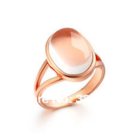 Pink crystal ring finger with rose gold,pink rose box ring,