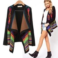 2015 vintage fashion trend geometry print irregular lap outerwear knitwear women's cardigan free shipping