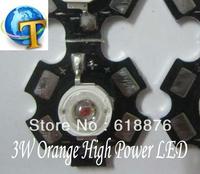 10pcs 3W Orange High Power LED Light Bead Emitter 600-610nm with 20mm Star Base