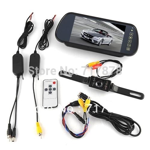"New 7"" Car LCD Monitor Mirror + Wireless Reverse Car Rearview Backup Camera Kit(China (Mainland))"
